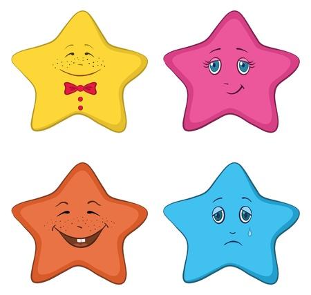 estrella caricatura: Vector, el conjunto de las Caritas de estrellas simbolizan distintas emociones humanas