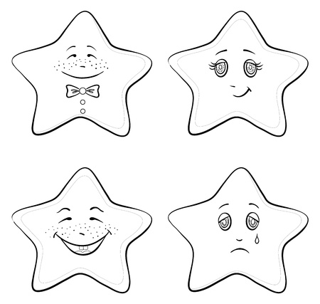 choleric: Vector, set of the stars smilies symbolising various human emotions, contours Illustration
