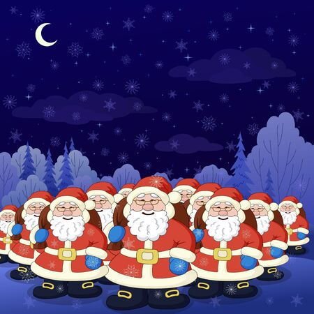Vector, Christmas cartoon: Santa Claus army in a night winter forest Stock Photo - 10588988