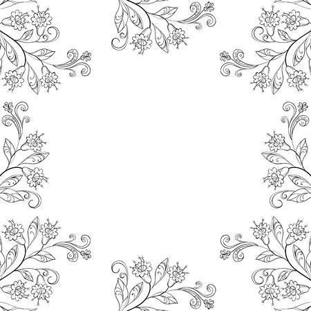 Vector floral background, frame of flowers and leafs, contours