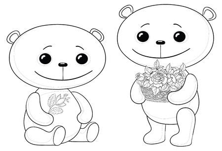 Vector, two toy teddy bears friends with flowers, contours Vector