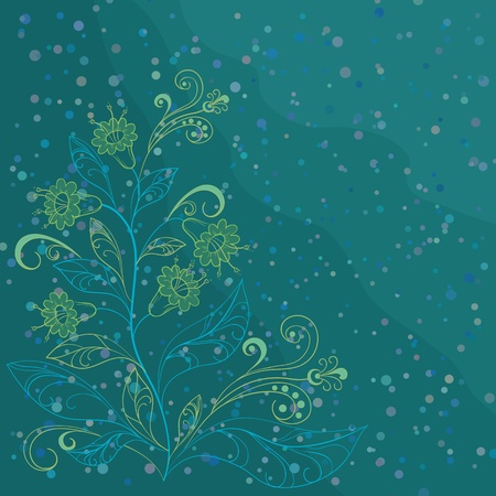 algaes: Vector abstract aquamarine background with yellow and blue contours flowers and confetti Illustration
