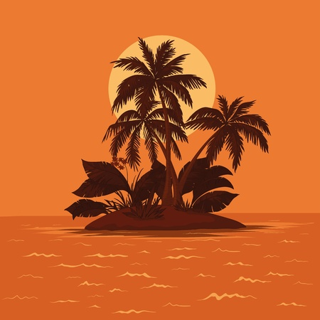 Vector, tropical sea island with palm trees and sun