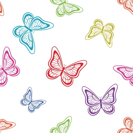 seamless background, various symbolical butterflies, coloured contours on a white background Vector