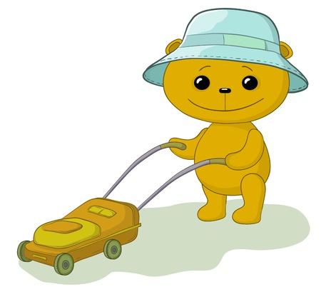cartoon, teddy bear lawnmower work with the lawn mower Vector