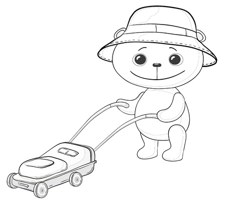 cartoon, teddy bear lawnmower work with the lawn mower, contours Vector