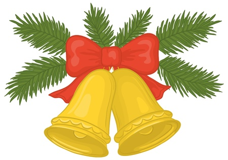 christmas bell: Vector, Christmas decoration: golden bells with red bow and green fir branches Illustration