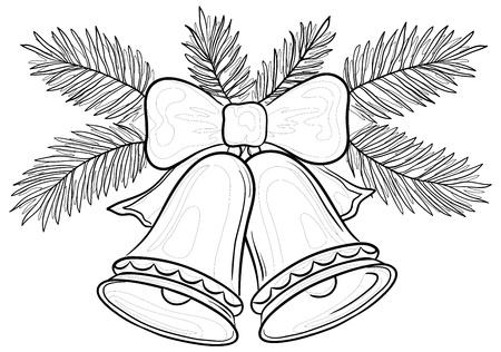campanas de navidad: Vector, decoración de Navidad: campanas con arco y ramas de abeto, contornos Vectores