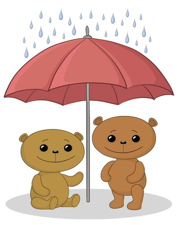 panda cub: Vector, dos teddy juguete lleva un paraguas bajo la lluvia Vectores