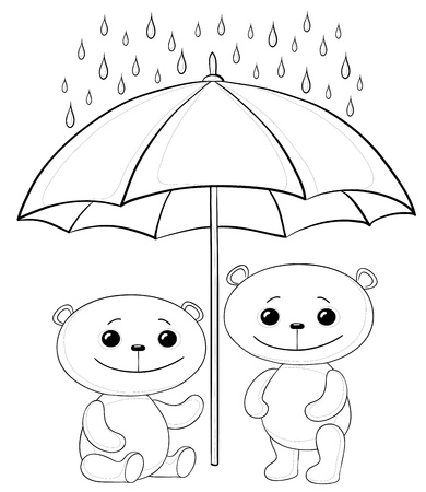 black family smiling: Vector, two toy teddy bears an umbrella in the rain, contours