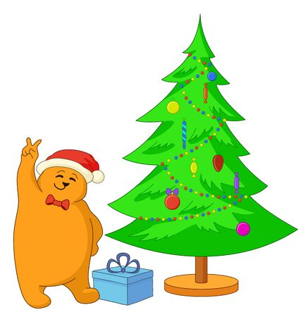 fur tree ornament: Vector cartoon: teddy bear showing victory sign near the Christmas tree Illustration