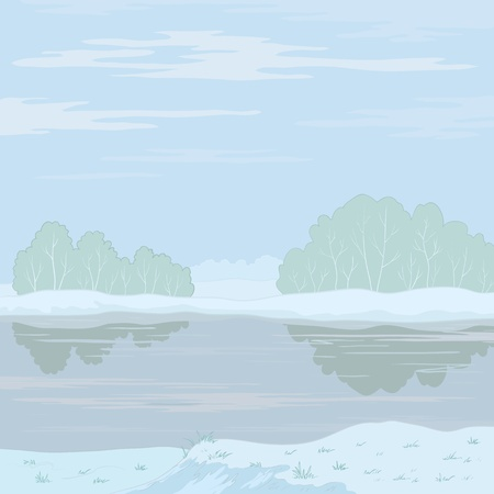 Vector, winter landscape: snow-covered forest, frozen river and the blue sky with white clouds Stock Vector - 10661835
