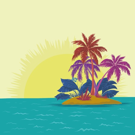 Vector, tropical sea island with palm trees and sun, abstract colors Vector