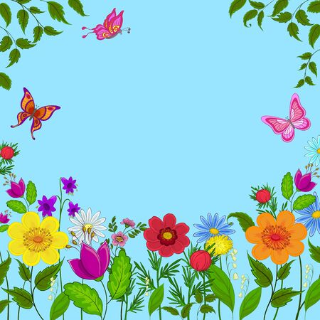 flowers, butterflies and leaves on a on a background of blue sky, vector photo
