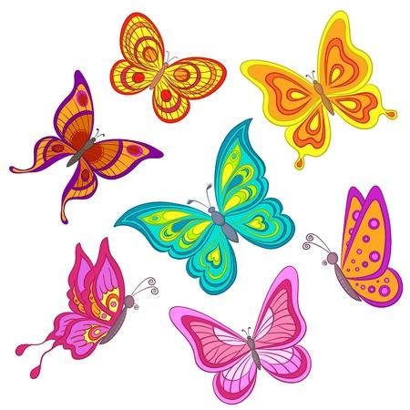 mariposa azul: Conjunto de mariposas de color diferentes sobre un fondo blanco, vector Vectores