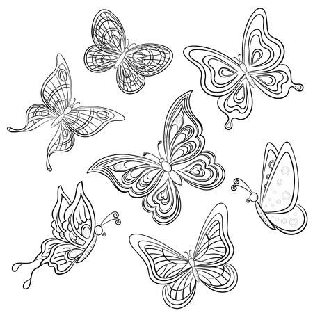 Set various butterflies, monochrome contours on a white background, vector Vector