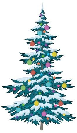 Árbol de vacaciones de Navidad con adornos: bolas y estrellas, vector