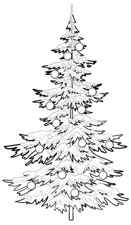 fur trees: Christmas holiday tree with ornaments: balls and stars, contours, vector