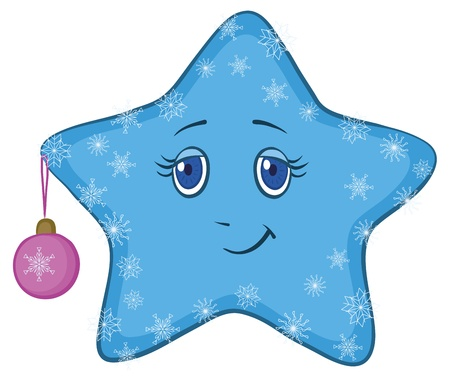 Cartoon, blue smiley star with holiday Christmas ball and snowflakes, vector Vector
