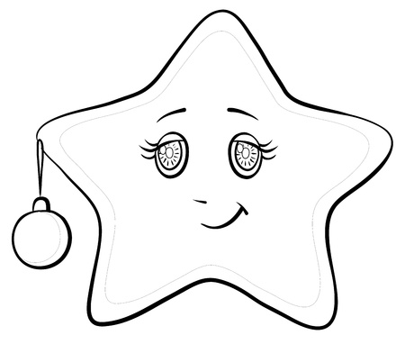 Cartoon, smiley star with holiday Christmas ball and snowflakes, contours, vector Vector