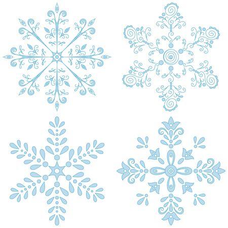 Christmas decor: set blue snowflakes on white background. Vector Vector