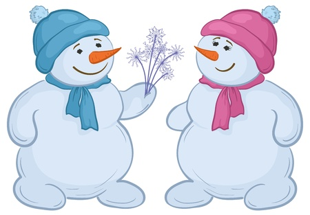 snow cap: Christmas cartoon, snowmens children with snowy flowers. Vector
