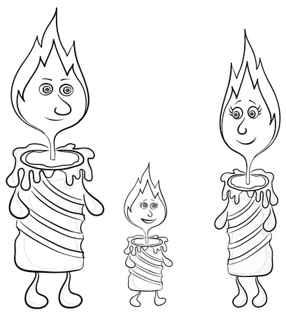 Cartoon, burning candles, family: mom, father and baby, contours. Vector Vector