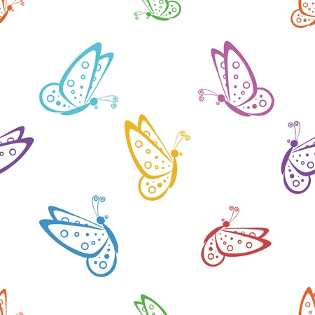 butterfly garden: Seamless background, various symbolical butterflies, coloured contours on a white background. Vector