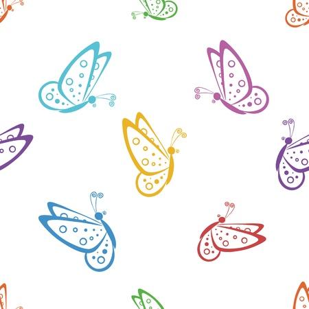 silhouette papillon: Seamless, divers papillons symbolique, contours colorés sur un fond blanc. Vecteur Illustration