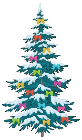 fur trees: Christmas holiday tree with ornaments: colored bows. Vector Illustration
