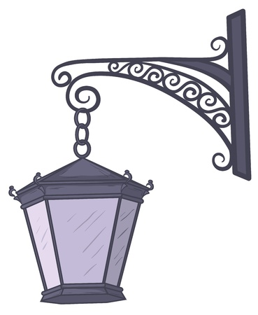 streetlight: Ancient nonluminous street lamp, hanging on a decorative bracket.