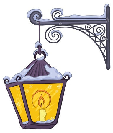 Vintage street lamp glowing in the snow, hanging on a decorative bracket. Vector
