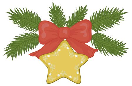 star cartoon: Christmas decoration: gold star with floral pattern, red bow and green fir branches.