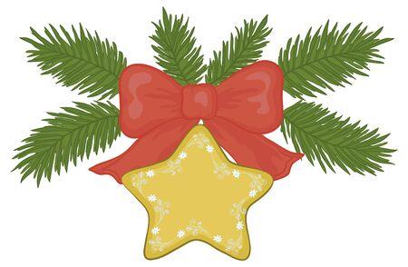 estrella caricatura: Decoración navideña: estrella de oro con motivos florales, lazo rojo y verde ramas de abeto. Vectores