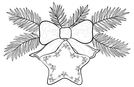 Christmas decoration, contours: star with floral pattern, bow and fir branches. Vector