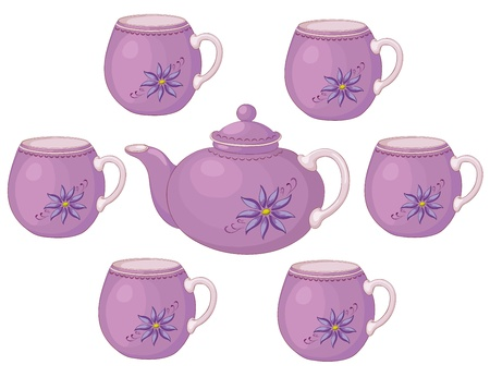 blue white kitchen: Lilac china teapot and cups with a pattern of flowers.