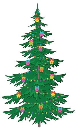 Navidad árbol de Navidad con adornos: las estrellas sonrientes.