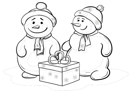 Christmas cartoon, snowmens children with gift box, contours. Vector