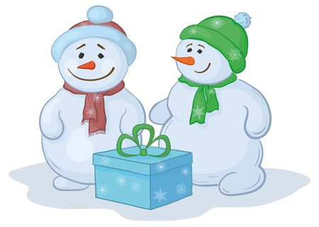 Christmas cartoon, snowmens children with gift box. Vector