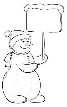 Cartoon, snowmen woman holds a poster for your text, contours.  Stock Vector - 10906338