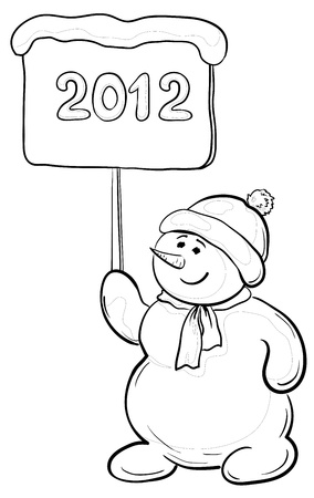 Cartoon, contours: snowmen boy with the inscription 2012.  Vector
