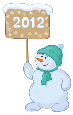 Cartoon, snowmen boy with the inscription 2012.  Vector