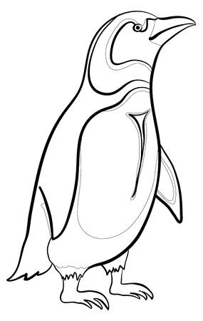 pinguino: Ant�rtica de ping�inos emperador, los contornos de negro sobre fondo blanco. Vectores