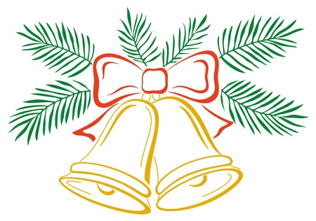Christmas decoration, symbolical pictogram: golden bells with red bow and green fir branches Vector