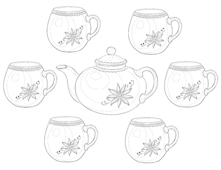 China teapot and cups with a pattern of flowers. Contours.  Vector