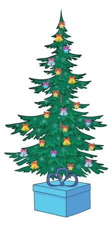 fur tree ornament: Christmas holiday tree with bells and snowflakes and gift boxes. Illustration