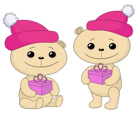 Teddy bears in caps with Christmas holiday boxes. Stock Vector - 10941166