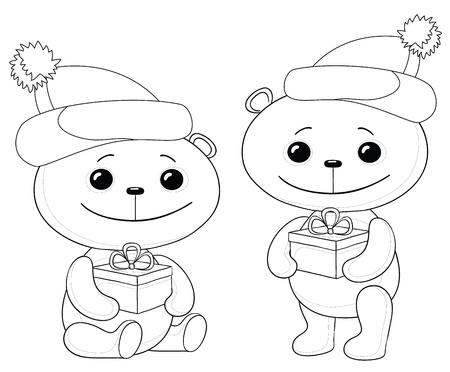 Teddy bears in caps with Christmas holiday gift boxes, contours. Vector