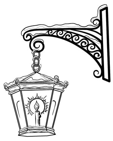 lampposts: Vintage farol que brilla intensamente en la nieve, colgando de un soporte decorativo. Contornos.