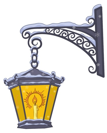 lampposts: Vintage street lamp glowing in the snow, hanging on a decorative bracket